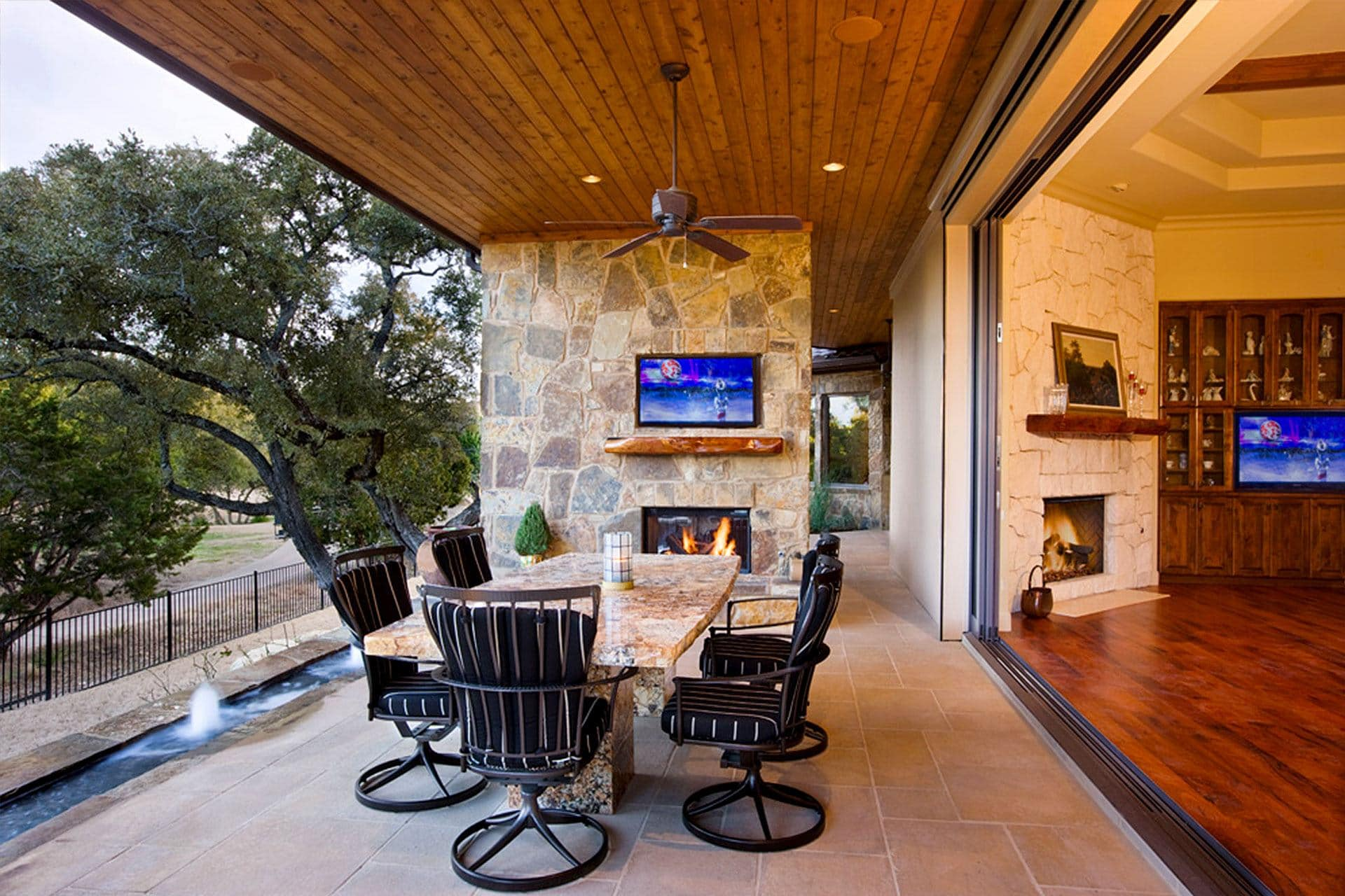 Texas Hill Country Tuscan 6401 - Outdoor Living Room with Wall Television